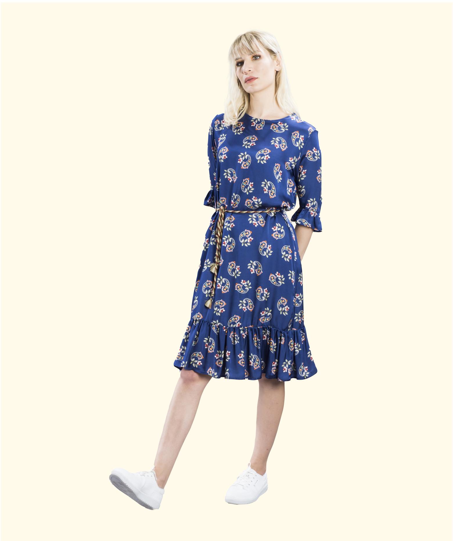 Mag Fırfır Detaylı Kuşaklı Elbise: Meisies'21